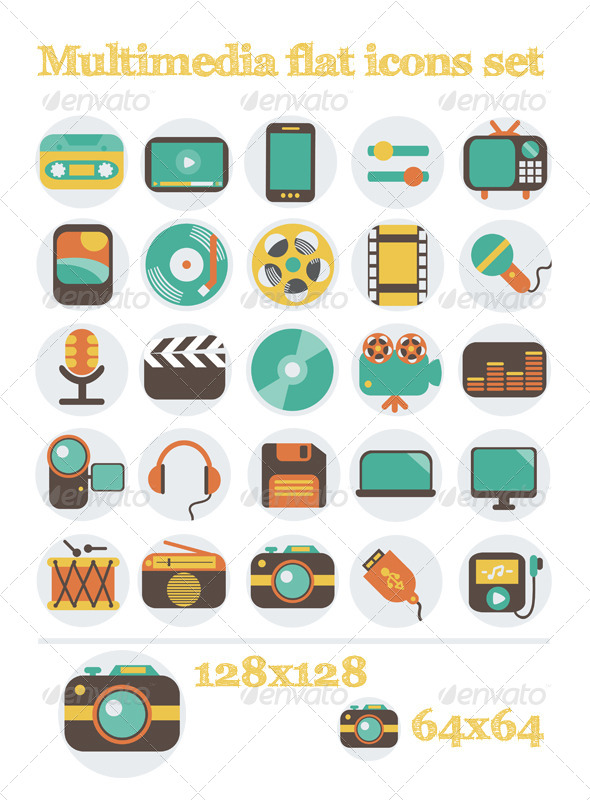 GraphicRiver Multimedia Flat Icons Set 6328282