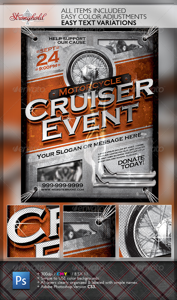 GraphicRiver Vintage Motorcycle Cruiser Flyer 6328357