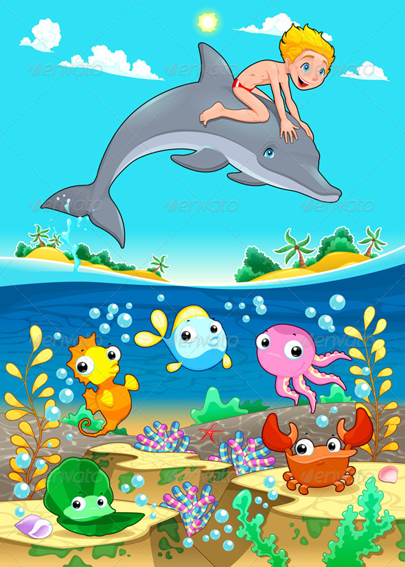 GraphicRiver Boy and Dolphin with Fish Under the Sea 6328384