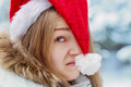 Woman in Cap Santa Claus - PhotoDune Item for Sale