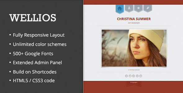 Wellios - Responsive VCard Wordpress Theme - Personal Blog / Magazine
