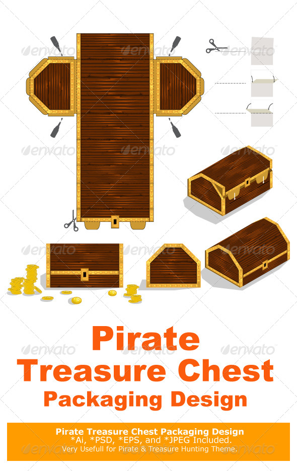 GraphicRiver Treasure Chest Packaging Box Design 6329420