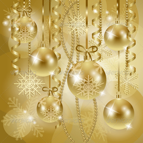 GraphicRiver Christmas Background with Baubles in Gold 6329470
