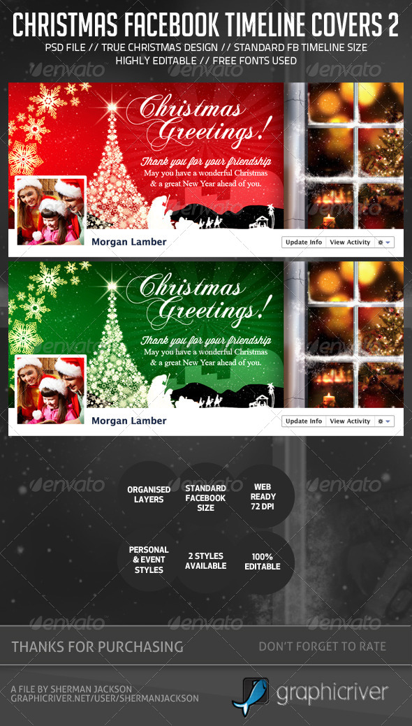 GraphicRiver Christmas Holiday Facebook Timeline Cover V.2 6330489