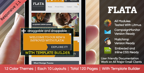 FLATA- Flat Responsive Email With Template Builder