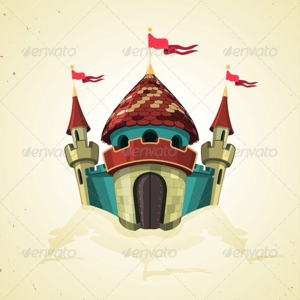 GraphicRiver Cartoon Fortified Castle with Flags 6332524