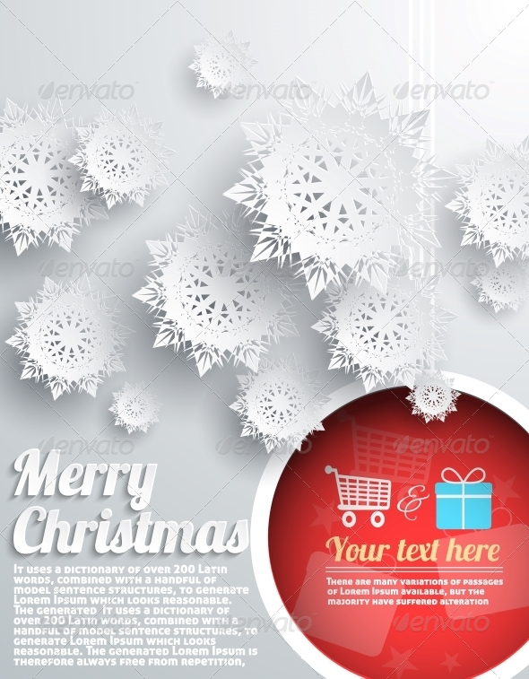 GraphicRiver Merry Christmas Background with Snowflake and Ball 6332540