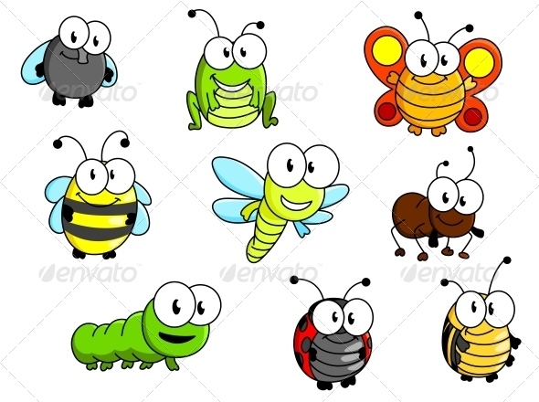 GraphicRiver Cartoon Insects Set 6333163