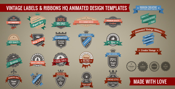 VideoHive Vintage Retro Labels High Quality Animated pack 6333176