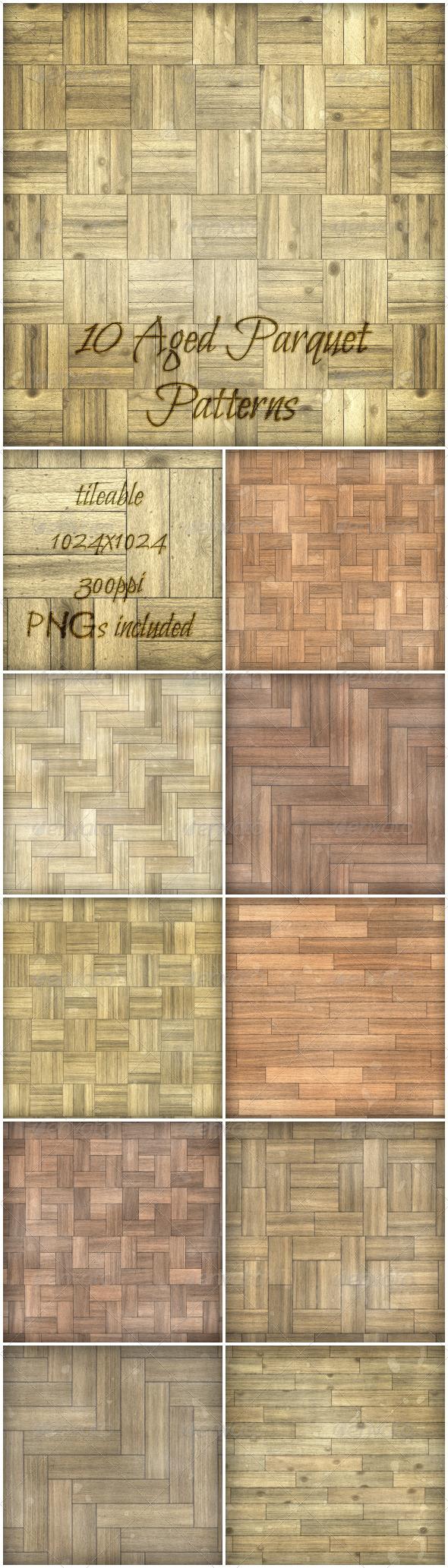 GraphicRiver 10 Aged Parquet Patterns 6333735