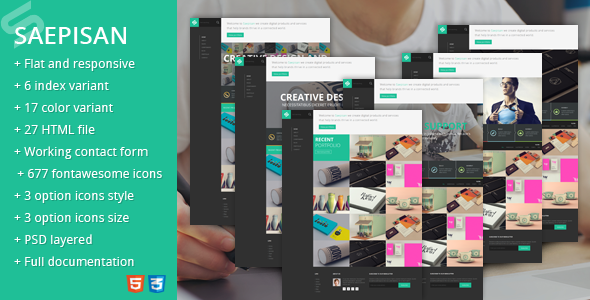 theme review.  large preview Saepisan creative portfolio html template (Portfolio)