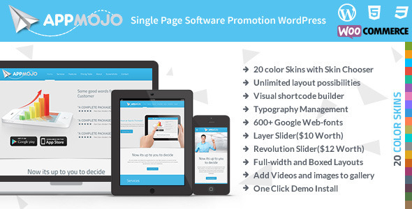 App Mojo - Single Page Software Promotion Theme - Corporate WordPress