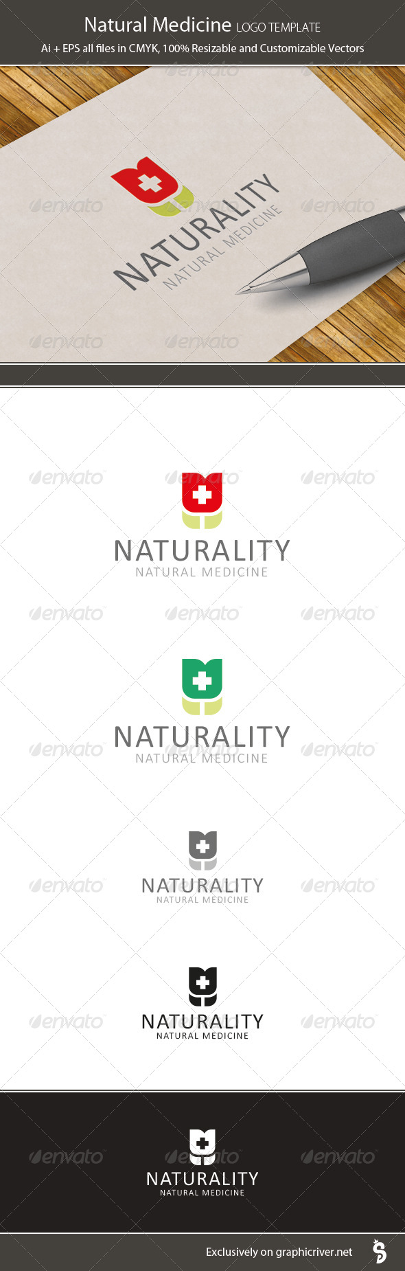 GraphicRiver Natural Medicine Logo Template 6335534