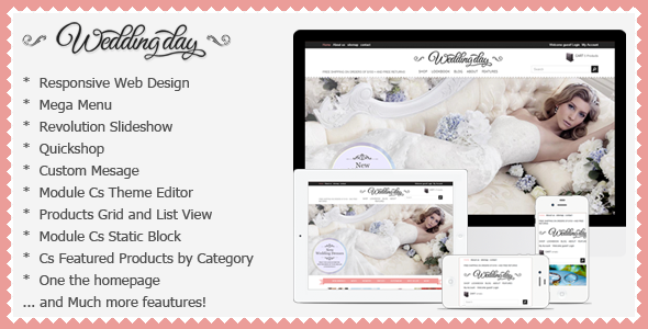 Wedding Responsive Prestashop Theme - WeddingDay