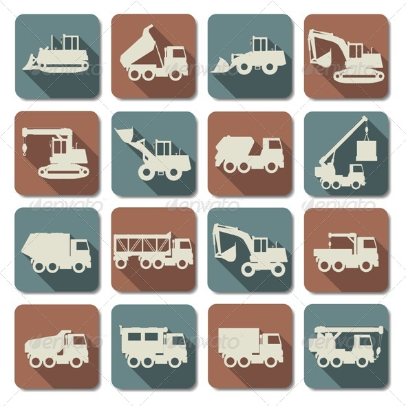 GraphicRiver Vector Construction Machines Flat Icons 6336033