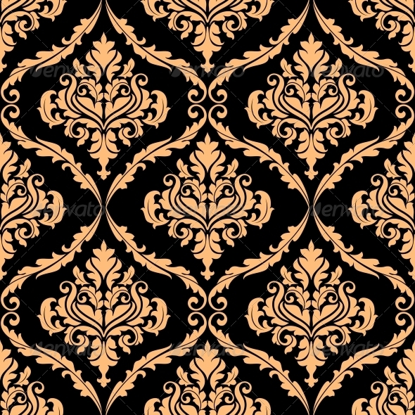 GraphicRiver Damask Floral Pattern with Brown Colours 6336214