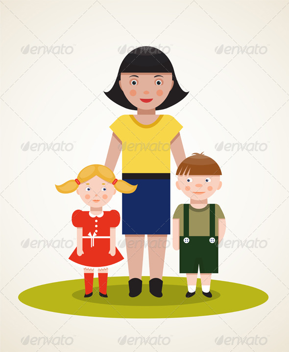 GraphicRiver Happy Mother with Two Children 6338090