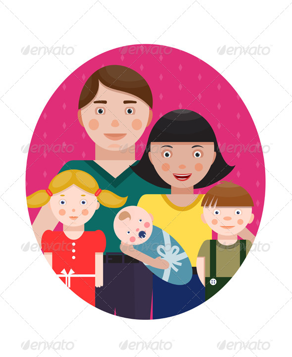 GraphicRiver Happy Family Parents with Three Children Portrait 6338268