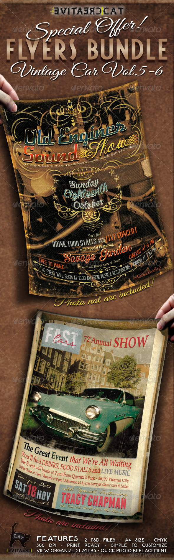 GraphicRiver Vintage Car Flyer Poster Bundle Vol 5-6 6340052