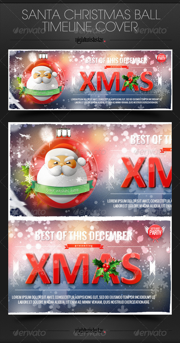 GraphicRiver Santa Christmas Ball Timeline Cover 6341227