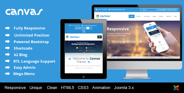 ThemeForest Canvas Responsive Joomla Corporate Template 6341691