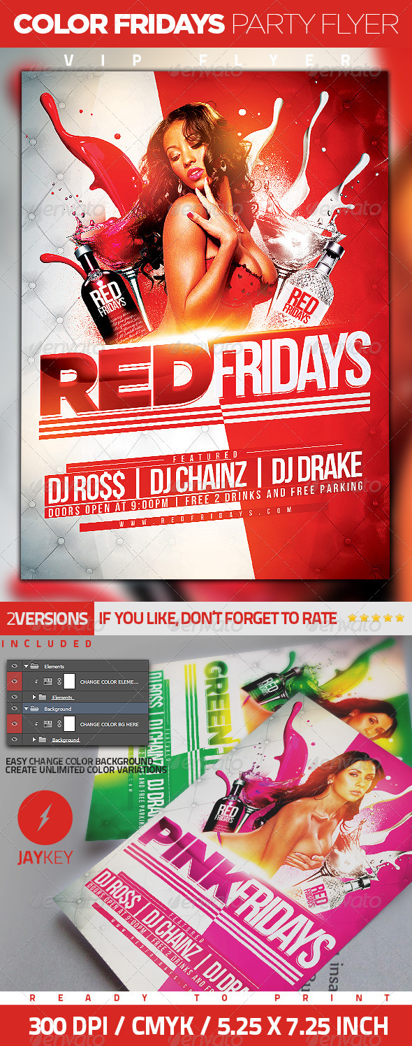 GraphicRiver Color Fridays Party Flyer 6341754