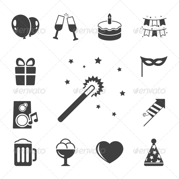 GraphicRiver Celebration Icons Set Contrast Flat 6342871