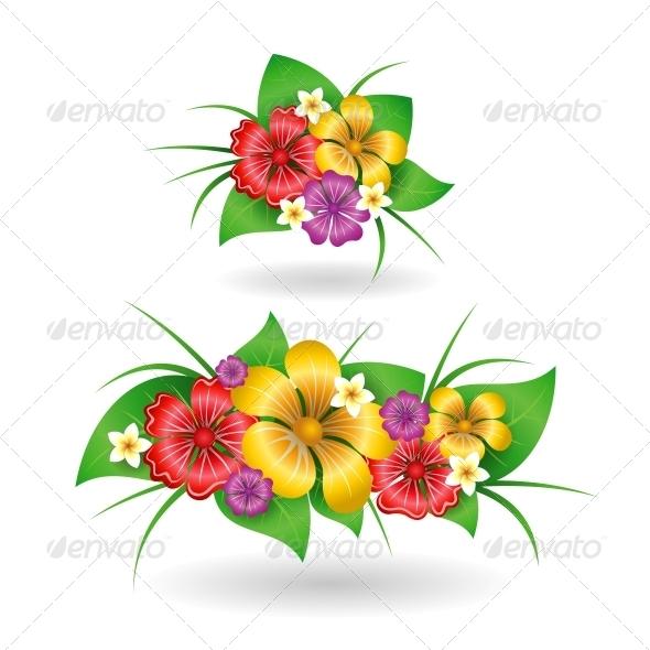 GraphicRiver Tropical Flowers Decor Elements 6342893