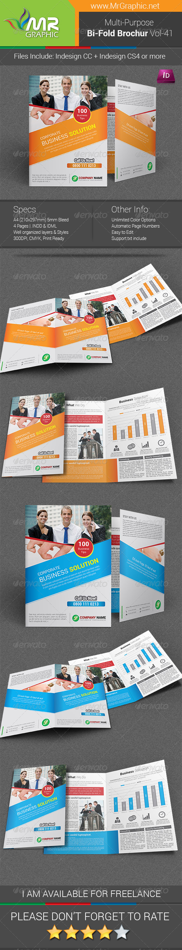 GraphicRiver Multipurpose Bi-fold Brochure Template Vol-41 6321917