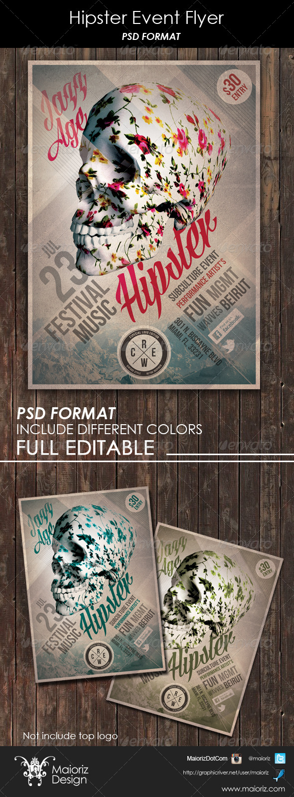 GraphicRiver Hipster Event Flyer 6343964