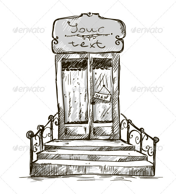 GraphicRiver Entrance Door Shop Window Drawing 6344575
