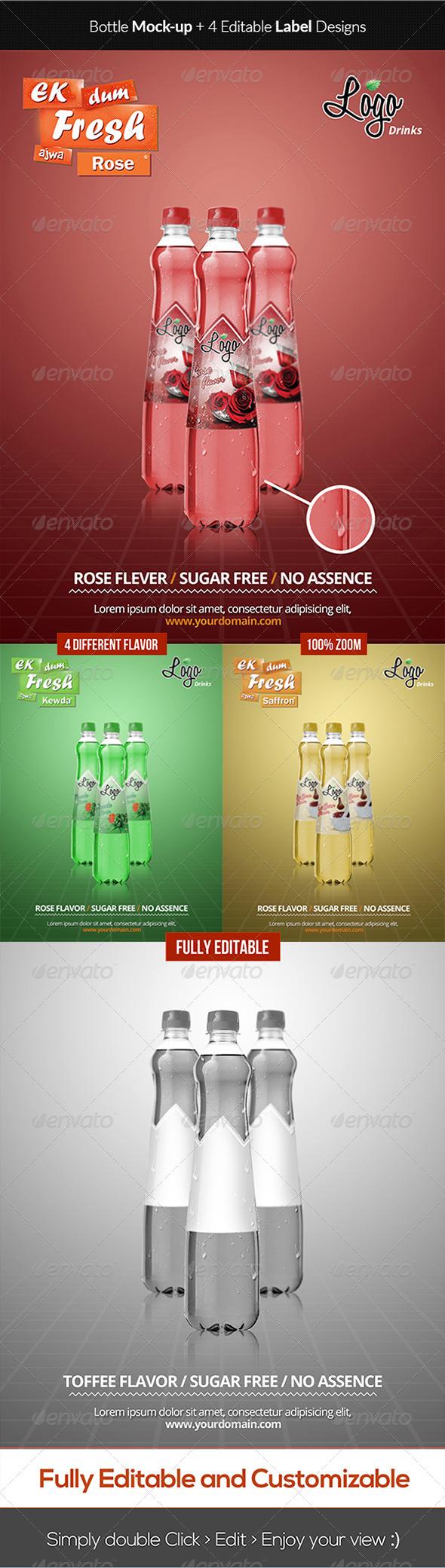 GraphicRiver Elegant Bottle Mockup & Label Design 6316013