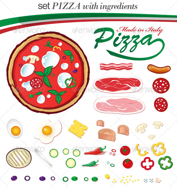 GraphicRiver Italian Pizza with Ingredients 6051376