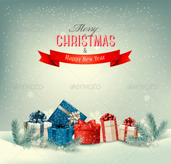 Christmas Winter Background with Presents - Christmas Seasons/Holidays