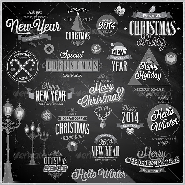 GraphicRiver Christmas Set of Labels and Emblems on Chalkboard 6348062