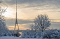 TV Tower on the Daugava river in Riga at snowy winter.. - PhotoDune Item for Sale