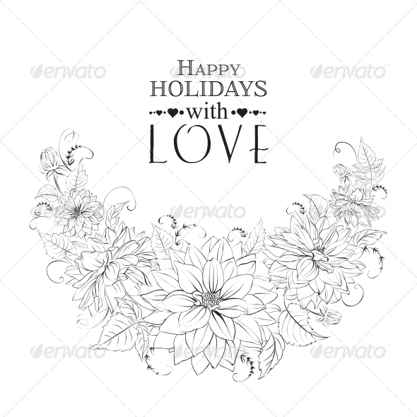 GraphicRiver Garland of Chrysanthemum Isolated 6349514