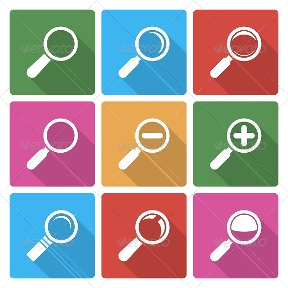 GraphicRiver Magnifier Glass Icons with Shadow 6350040