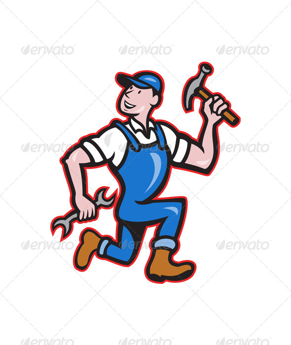 GraphicRiver Carpenter Builder Running with Tools Cartoon 6350262