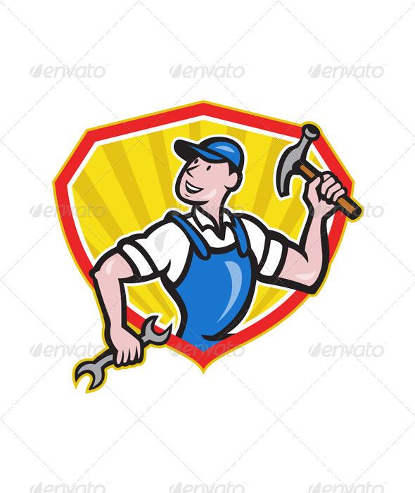 GraphicRiver Carpenter Builder Hammer Spanner Cartoon 6350276