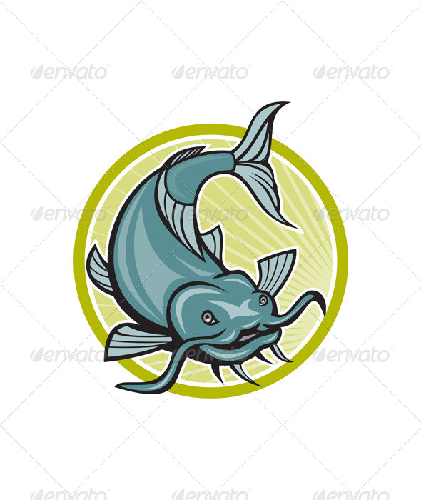 GraphicRiver Catfish Attacking Circle Cartoon 6350299