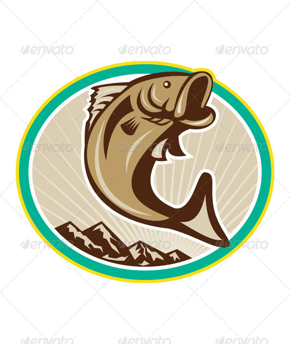 GraphicRiver Largemouth Bass Jumping Circle 6350303