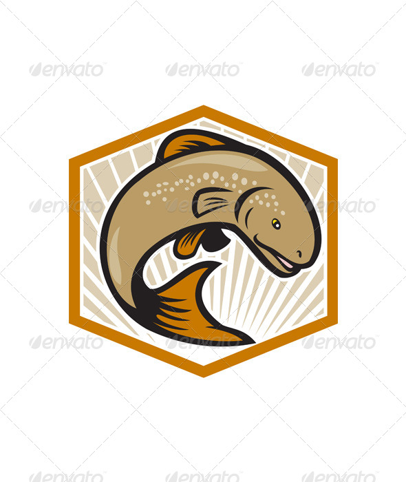 GraphicRiver Trout Jumping Cartoon Shield 6350408