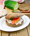 Sandwich with cream and salmon with cucumber on board - PhotoDune Item for Sale