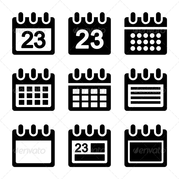 GraphicRiver Calendar Icons Set 6351643