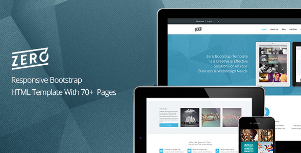 01 Preview.  large preview Zero   Responsive Bootstrap HTML Template (Business)