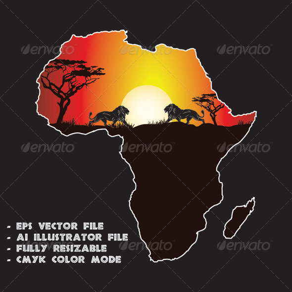 GraphicRiver Sunset in Africa 6351796