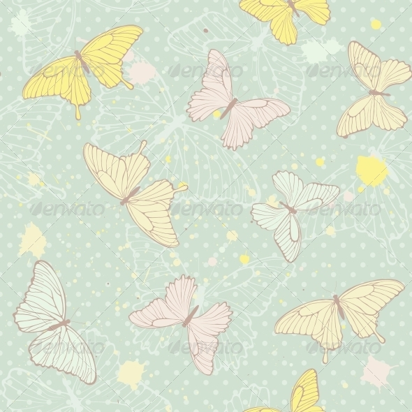GraphicRiver Delicate Seamless Pattern with Butterflies 6353246