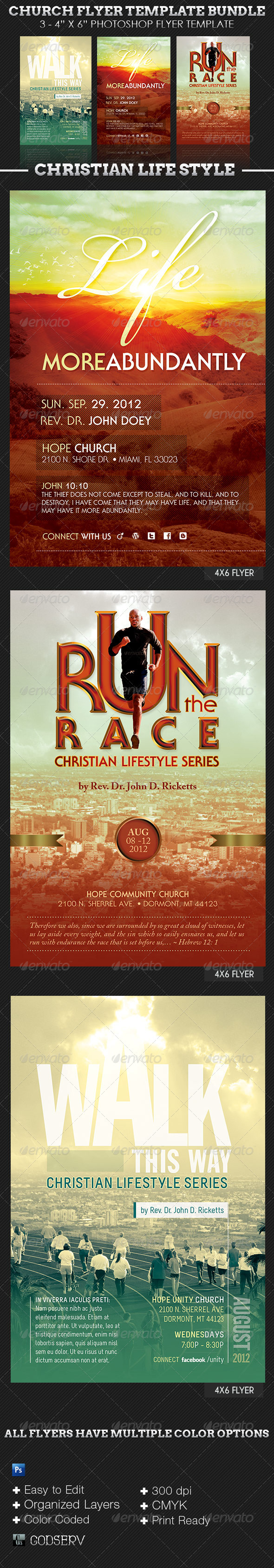 Church Flyer Template Bundle: Christian Lifestyle - Church Flyers