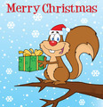 Happy Squirrel With Santa Hat Holding A Gift Under Merry Christmas Text - PhotoDune Item for Sale